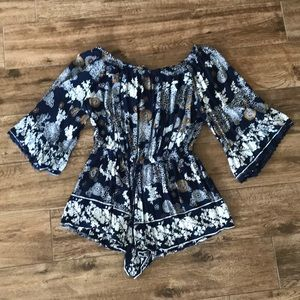 Patterned Off the Shoulder Romper
